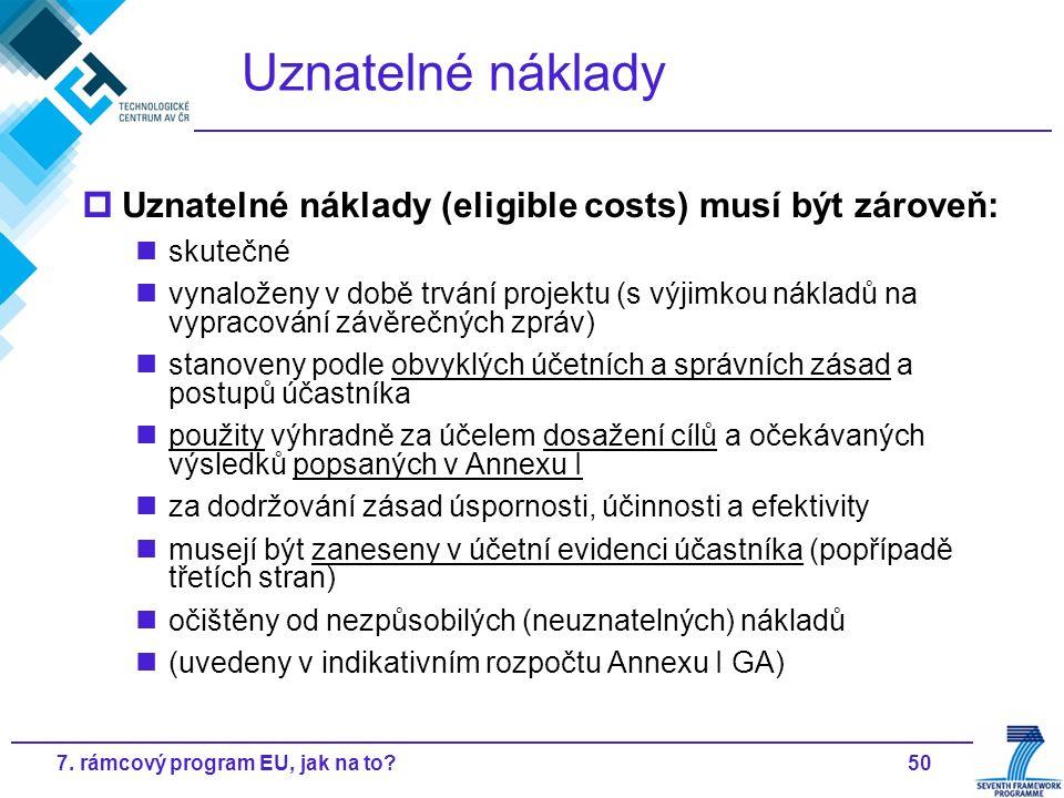 507. rámcový program EU, jak na to? Uznatelné náklady  Uznatelné náklady (eligible costs) musí být zároveň: skutečné vynaloženy v době trvání projekt