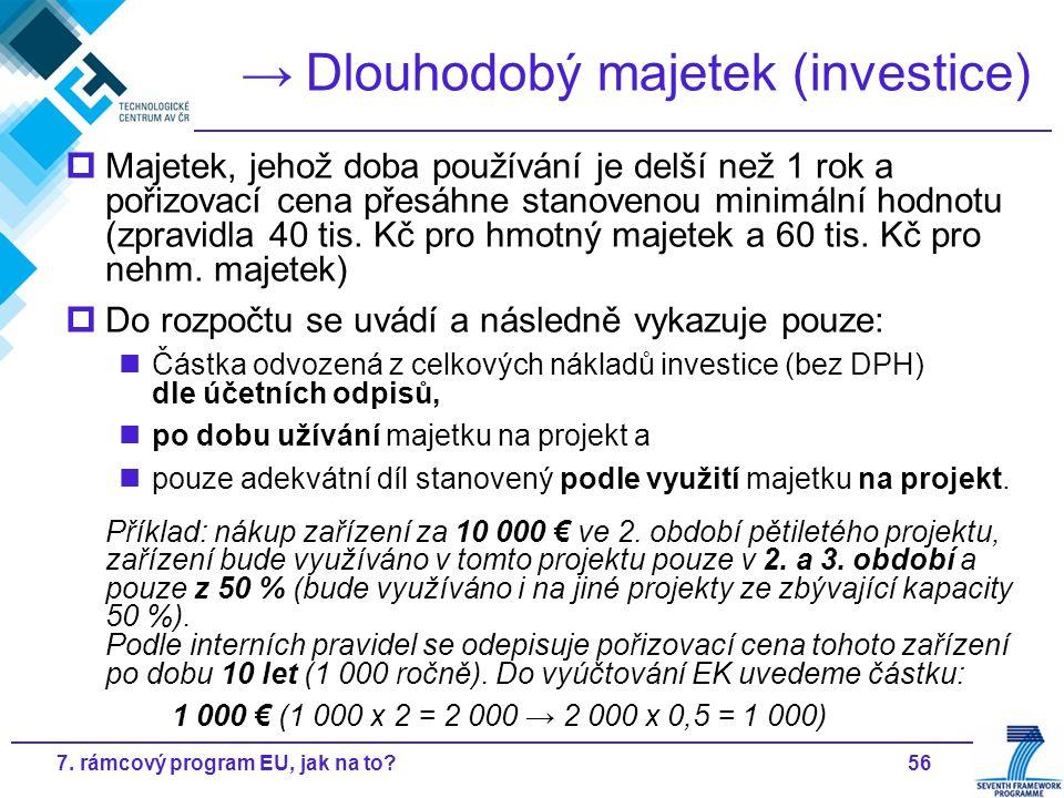 567. rámcový program EU, jak na to? → Dlouhodobý majetek (investice)  Majetek, jehož doba používání je delší než 1 rok a pořizovací cena přesáhne sta