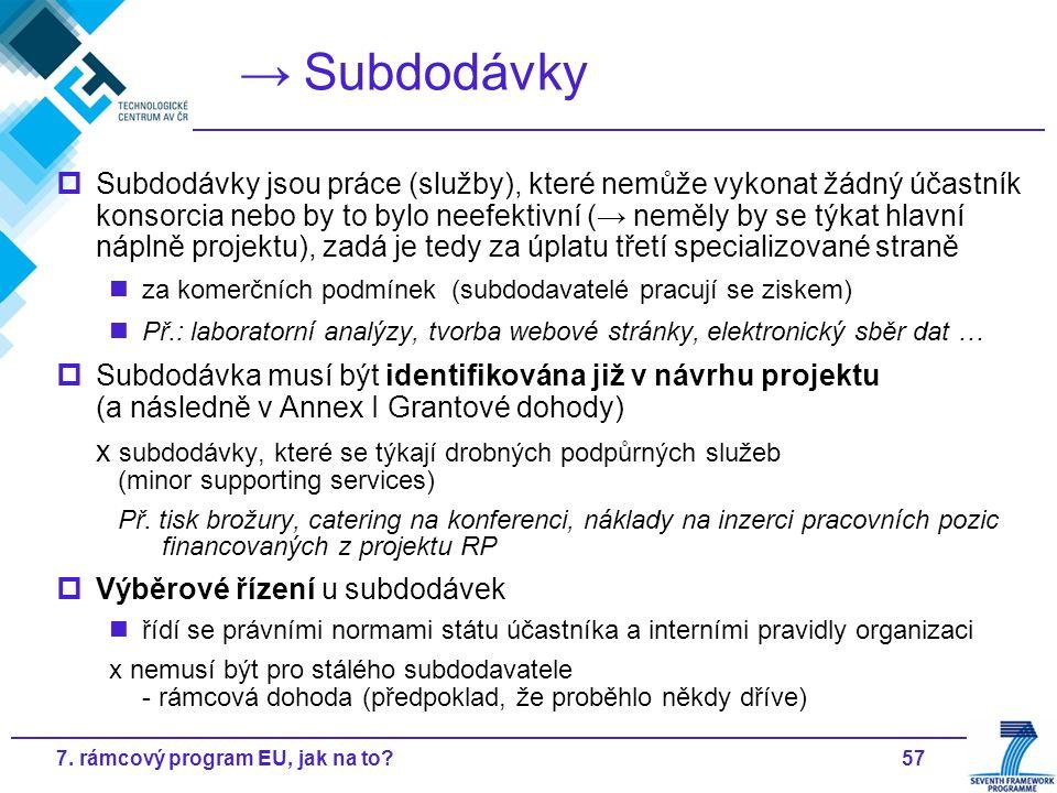 577. rámcový program EU, jak na to? → Subdodávky  Subdodávky jsou práce (služby), které nemůže vykonat žádný účastník konsorcia nebo by to bylo neefe