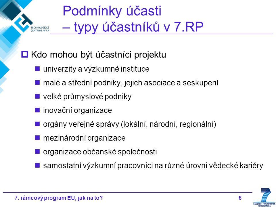67. rámcový program EU, jak na to? Podmínky účasti – typy účastníků v 7.RP  Kdo mohou být účastníci projektu univerzity a výzkumné instituce malé a s