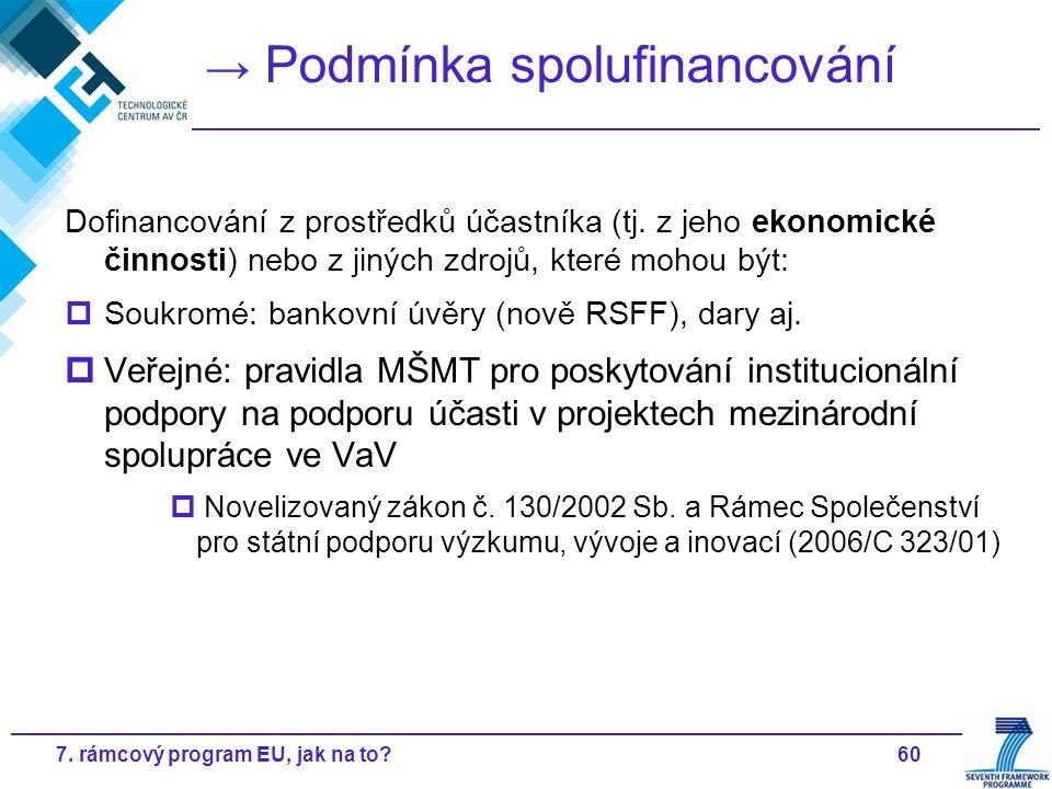 607. rámcový program EU, jak na to? → Podmínka spolufinancování Dofinancování z prostředků účastníka (tj. z jeho ekonomické činnosti) nebo z jiných zd