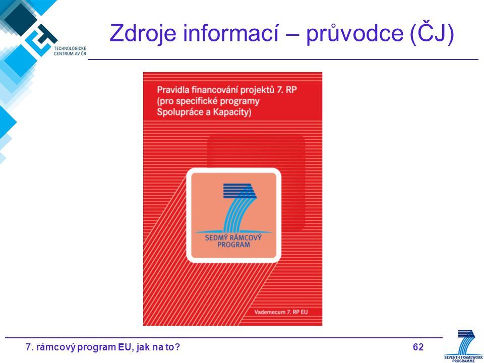 627. rámcový program EU, jak na to Zdroje informací – průvodce (ČJ)