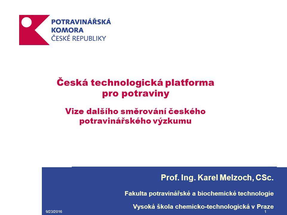 9/23/20161 Česká technologická platforma pro potraviny Vize dalšího směrování českého potravinářského výzkumu Prof.