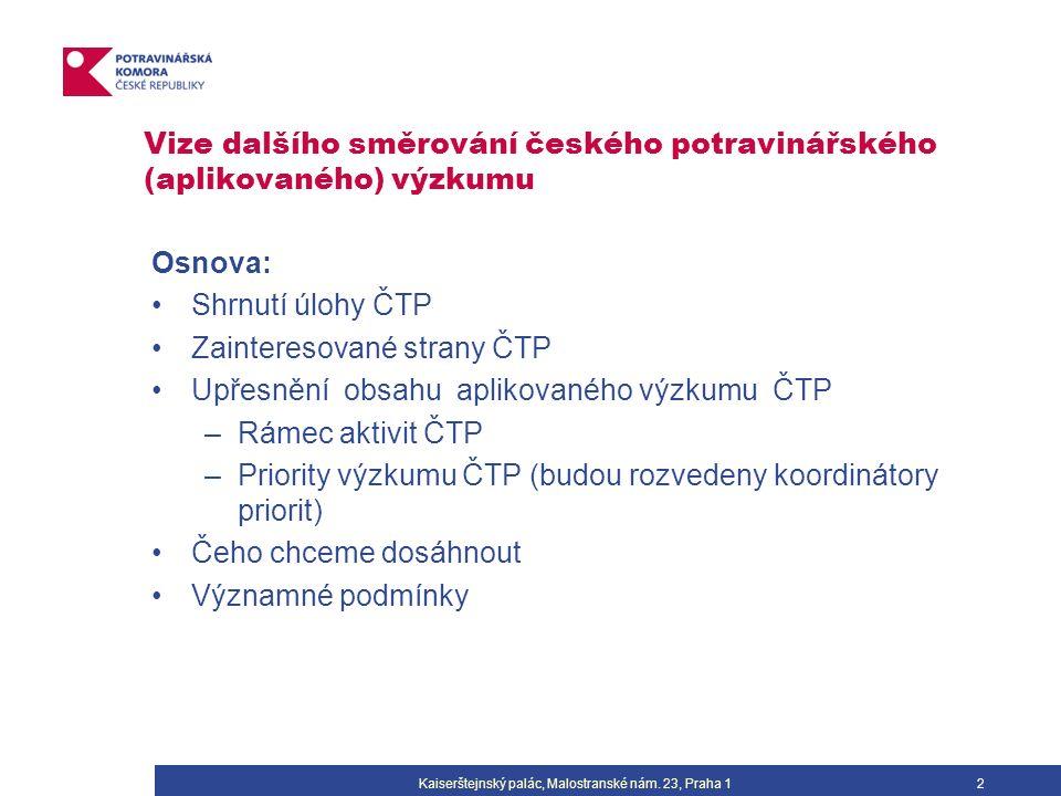 Vize dalšího směrování českého potravinářského (aplikovaného) výzkumu Osnova: Shrnutí úlohy ČTP Zainteresované strany ČTP Upřesnění obsahu aplikovaného výzkumu ČTP –Rámec aktivit ČTP –Priority výzkumu ČTP (budou rozvedeny koordinátory priorit) Čeho chceme dosáhnout Významné podmínky Kaiserštejnský palác, Malostranské nám.