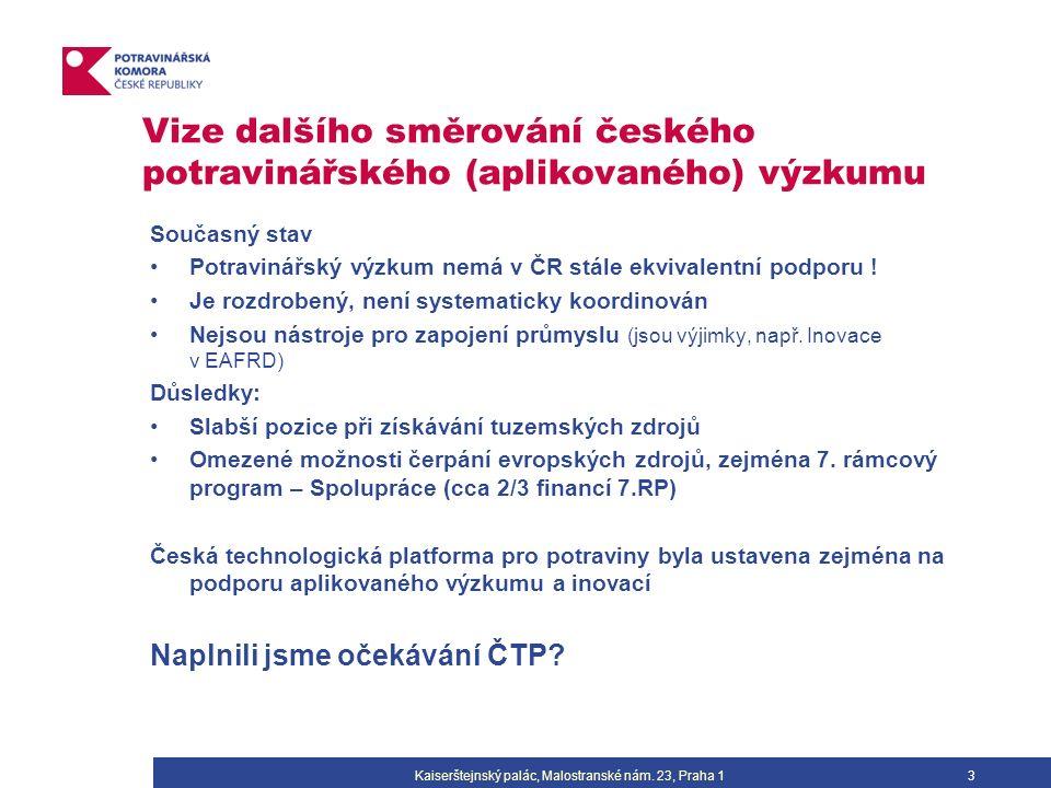 Vize dalšího směrování českého potravinářského (aplikovaného) výzkumu Současný stav Potravinářský výzkum nemá v ČR stále ekvivalentní podporu .