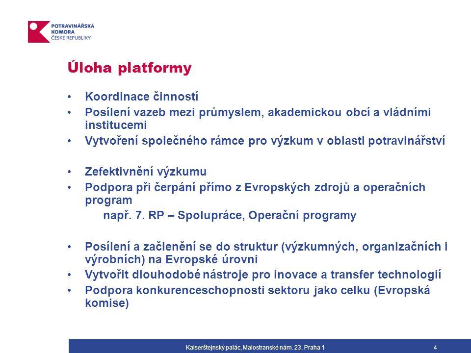 4 Úloha platformy Koordinace činností Posílení vazeb mezi průmyslem, akademickou obcí a vládními institucemi Vytvoření společného rámce pro výzkum v oblasti potravinářství Zefektivnění výzkumu Podpora při čerpání přímo z Evropských zdrojů a operačních program např.