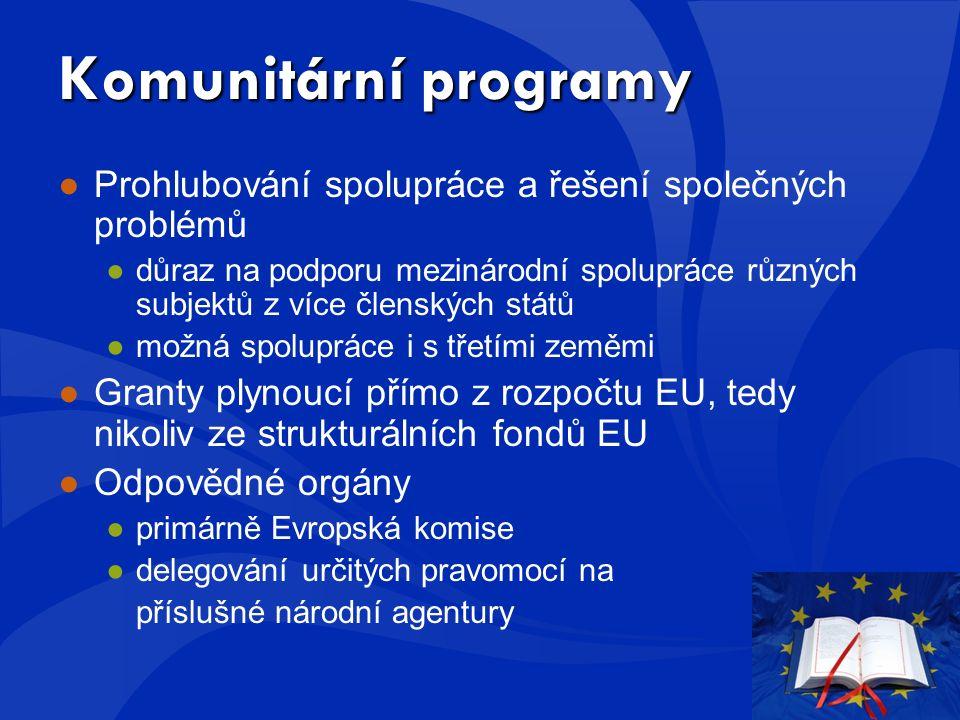 Komunitární programy ●Prohlubování spolupráce a řešení společných problémů ●důraz na podporu mezinárodní spolupráce různých subjektů z více členských států ●možná spolupráce i s třetími zeměmi ●Granty plynoucí přímo z rozpočtu EU, tedy nikoliv ze strukturálních fondů EU ●Odpovědné orgány ●primárně Evropská komise ●delegování určitých pravomocí na příslušné národní agentury