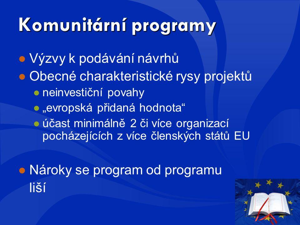 """Komunitární programy ●Výzvy k podávání návrhů ●Obecné charakteristické rysy projektů ●neinvestiční povahy ●""""evropská přidaná hodnota ●účast minimálně 2 či více organizací pocházejících z více členských států EU ●Nároky se program od programu liší"""