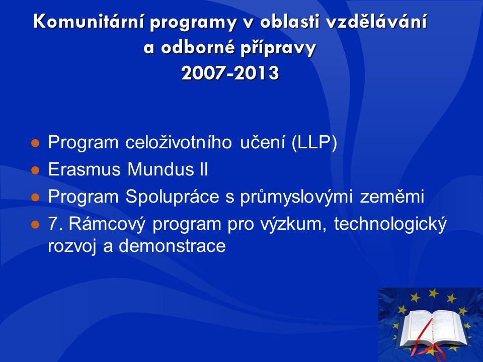 Komunitární programy v oblasti vzdělávání a odborné přípravy 2007-2013 ●Program celoživotního učení (LLP) ●Erasmus Mundus II ●Program Spolupráce s průmyslovými zeměmi ●7.