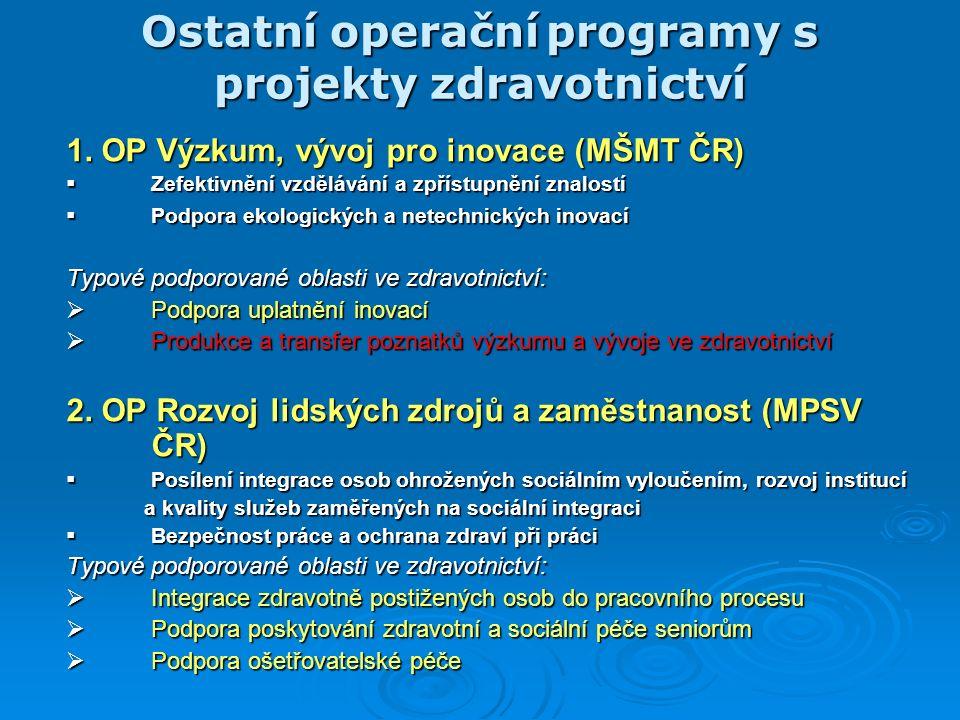 Ostatní operační programy s projekty zdravotnictví 1.