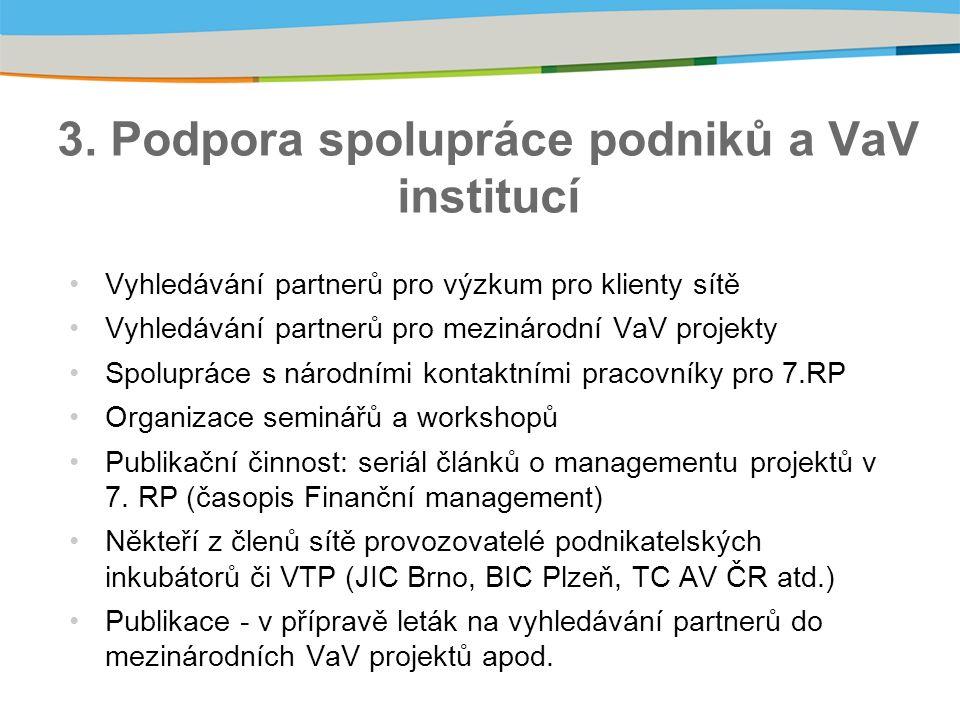 3. Podpora spolupráce podniků a VaV institucí Vyhledávání partnerů pro výzkum pro klienty sítě Vyhledávání partnerů pro mezinárodní VaV projekty Spolu