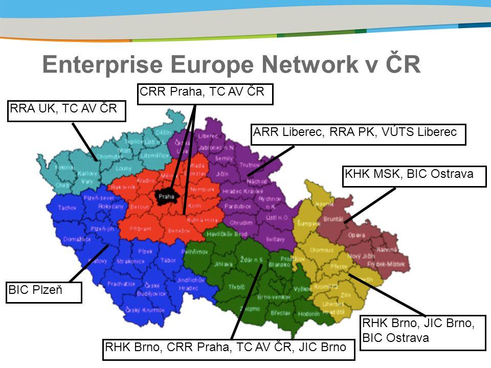 Enterprise Europe Network v ČR RRA UK, TC AV ČR CRR Praha, TC AV ČR ARR Liberec, RRA PK, VÚTS Liberec KHK MSK, BIC Ostrava RHK Brno, JIC Brno, BIC Ostrava RHK Brno, CRR Praha, TC AV ČR, JIC Brno BIC Plzeň