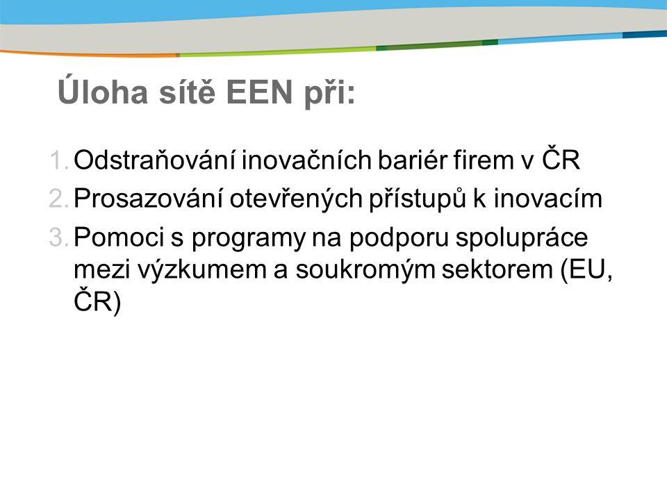 Úloha sítě EEN při: 1. Odstraňování inovačních bariér firem v ČR 2.