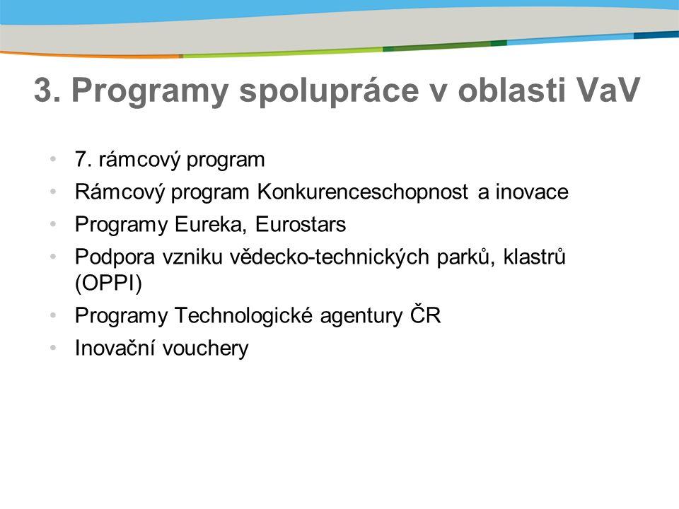 3. Programy spolupráce v oblasti VaV 7.