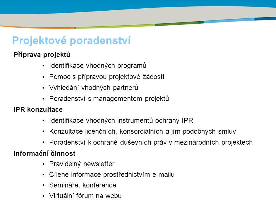 Příprava projektů Identifikace vhodných programů Pomoc s přípravou projektové žádosti Vyhledání vhodných partnerů Poradenství s managementem projektů IPR konzultace Identifikace vhodných instrumentů ochrany IPR Konzultace licenčních, konsorciálních a jím podobných smluv Poradenství k ochraně duševních práv v mezinárodních projektech Informační činnost Pravidelný newsletter Cílené informace prostřednictvím e-mailu Semináře, konference Virtuální fórum na webu Projektové poradenství