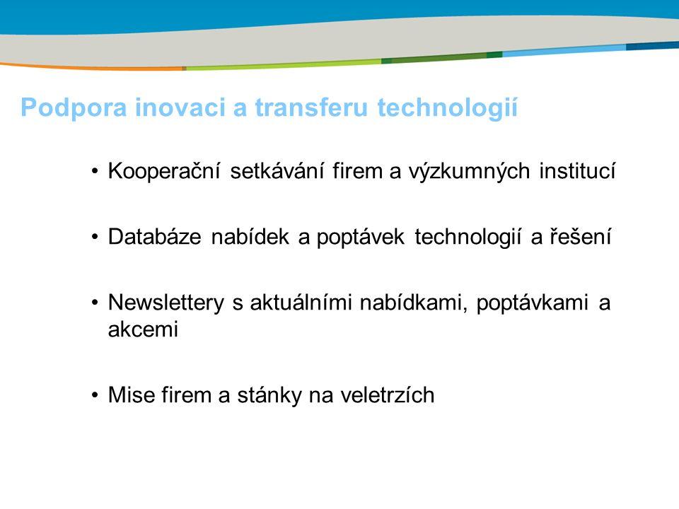 Podpora inovaci a transferu technologií Kooperační setkávání firem a výzkumných institucí Databáze nabídek a poptávek technologií a řešení Newslettery s aktuálními nabídkami, poptávkami a akcemi Mise firem a stánky na veletrzích