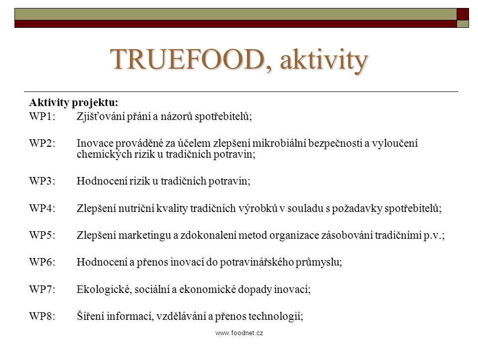www.foodnet.cz TRUEFOOD, aktivity Aktivity projektu: WP1: Zjišťování přání a názorů spotřebitelů; WP2: Inovace prováděné za účelem zlepšení mikrobiální bezpečnosti a vyloučení chemických rizik u tradičních potravin; WP3: Hodnocení rizik u tradičních potravin; WP4: Zlepšení nutriční kvality tradičních výrobků v souladu s požadavky spotřebitelů; WP5: Zlepšení marketingu a zdokonalení metod organizace zásobování tradičními p.v.; WP6: Hodnocení a přenos inovací do potravinářského průmyslu; WP7: Ekologické, sociální a ekonomické dopady inovací; WP8: Šíření informací, vzdělávání a přenos technologií;