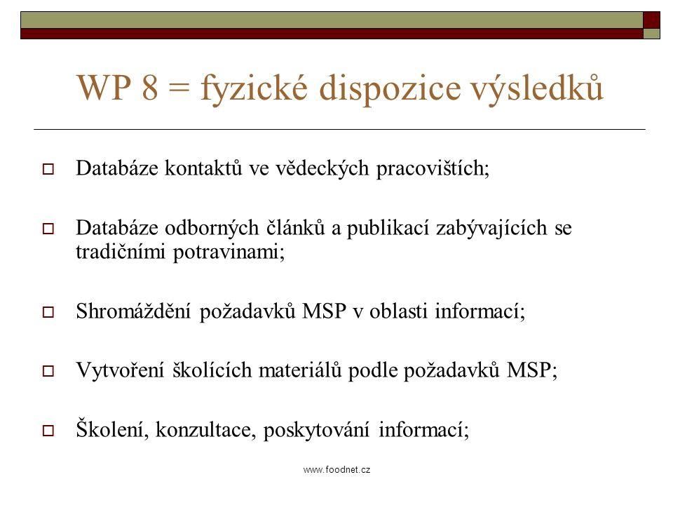 www.foodnet.cz WP 8 = fyzické dispozice výsledků  Databáze kontaktů ve vědeckých pracovištích;  Databáze odborných článků a publikací zabývajících se tradičními potravinami;  Shromáždění požadavků MSP v oblasti informací;  Vytvoření školících materiálů podle požadavků MSP;  Školení, konzultace, poskytování informací;
