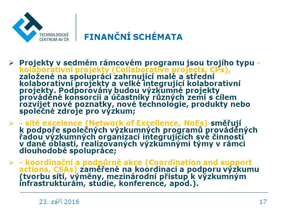 FINANČNÍ SCHÉMATA  Projekty v sedmém rámcovém programu jsou trojího typu - kolaborativní projekty (Collaborative projects, CPs), založené na spolupráci zahrnující malé a střední kolaborativní projekty a velké integrující kolaborativní projekty.