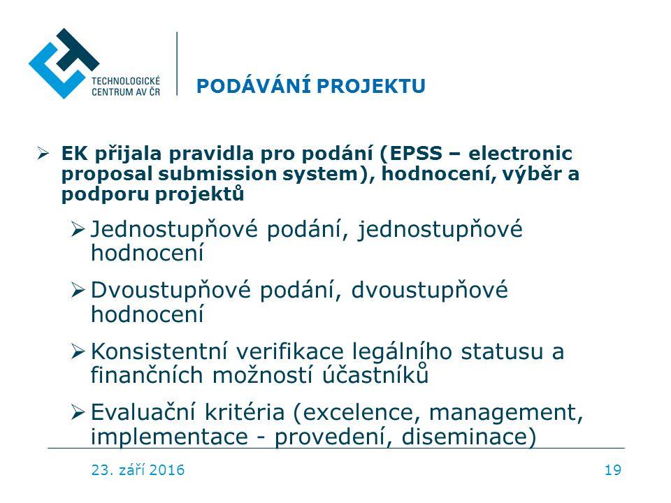 PODÁVÁNÍ PROJEKTU  EK přijala pravidla pro podání (EPSS – electronic proposal submission system), hodnocení, výběr a podporu projektů  Jednostupňové podání, jednostupňové hodnocení  Dvoustupňové podání, dvoustupňové hodnocení  Konsistentní verifikace legálního statusu a finančních možností účastníků  Evaluační kritéria (excelence, management, implementace - provedení, diseminace) 23.
