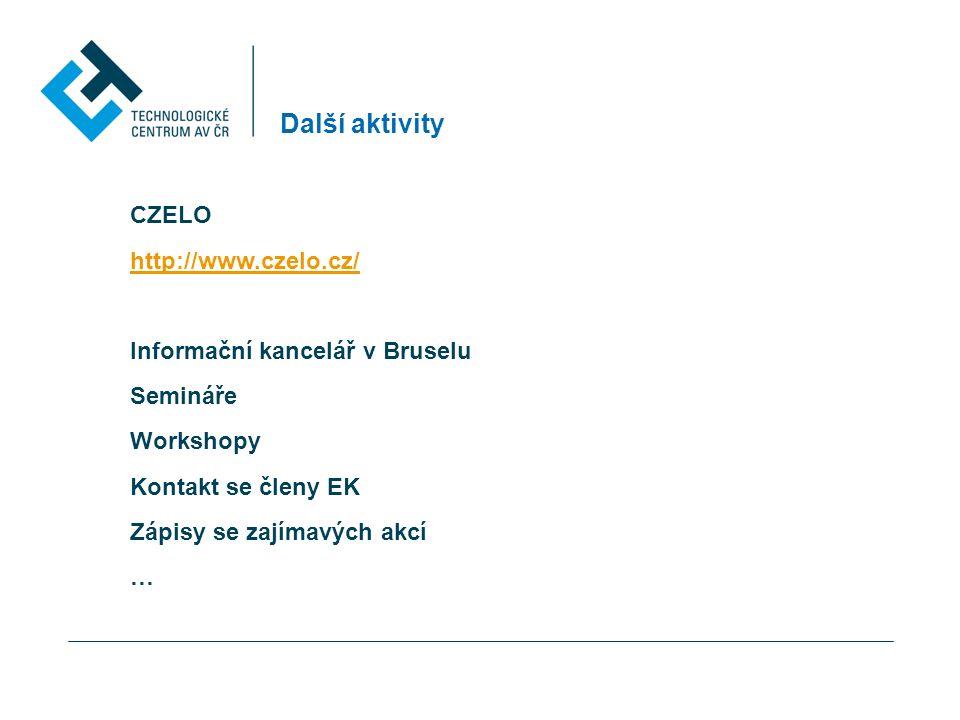 Další aktivity CZELO http://www.czelo.cz/ Informační kancelář v Bruselu Semináře Workshopy Kontakt se členy EK Zápisy se zajímavých akcí …