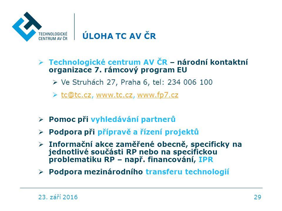 ÚLOHA TC AV ČR  Technologické centrum AV ČR – národní kontaktní organizace 7.