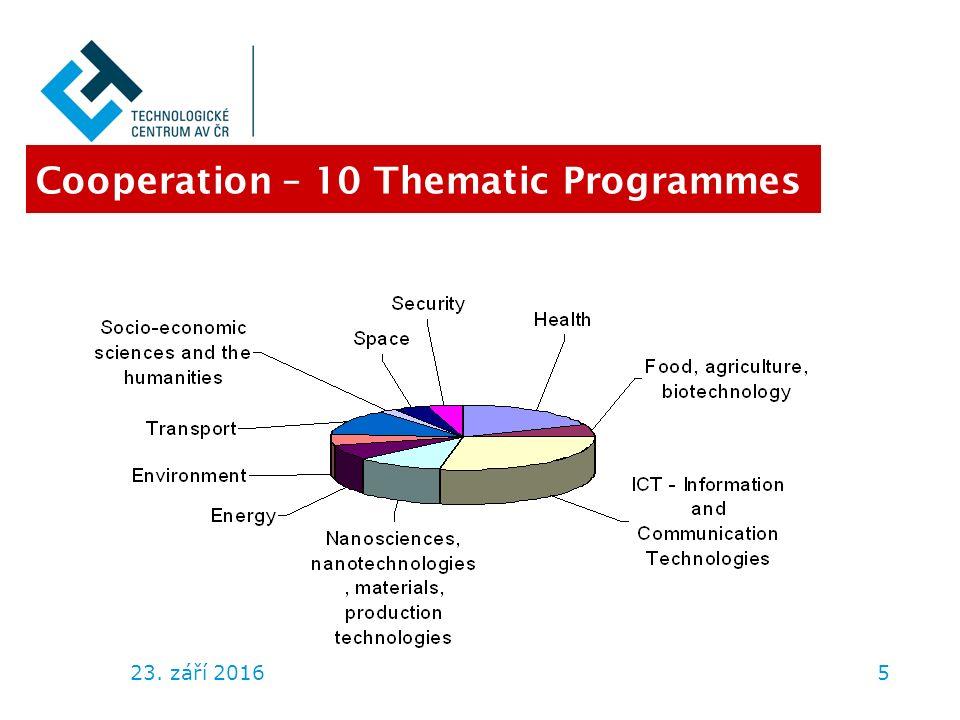 23. září 20165 Cooperation – 10 Thematic Programmes