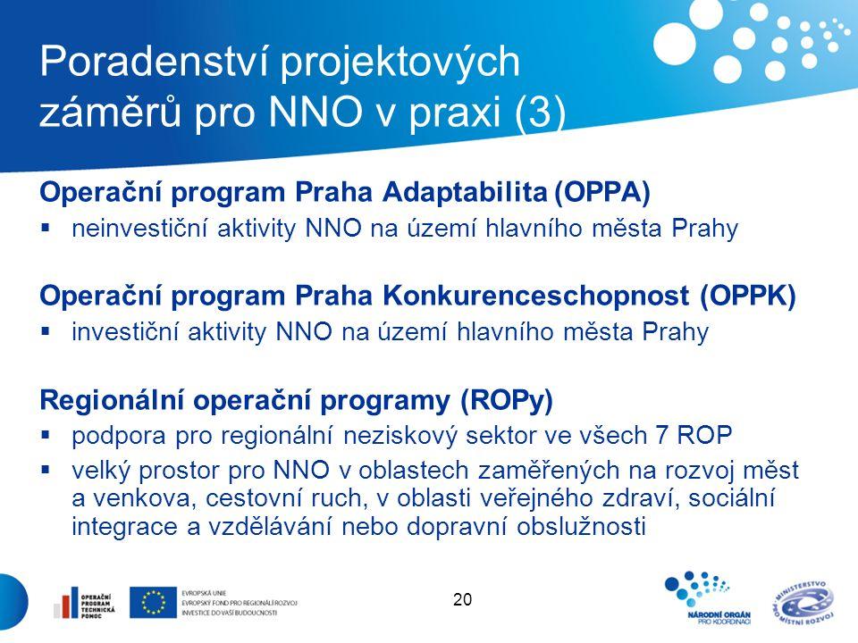 21 Poradenství projektových záměrů pro NNO v praxi (4) Evropská územní spolupráce  společné projekty se sousedními státy (ČR – Polsko, Slovensko, Rakousko, Sasko a Bavorsko) v oblastech např.