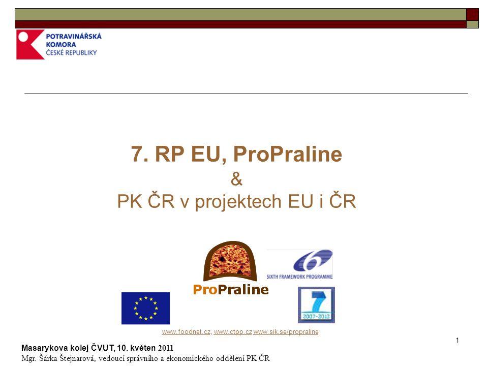 2 www.foodnet.czwww.foodnet.cz, www.ctpp.cz www.sik.se/propralinewww.ctpp.czwww.sik.se/propraline … pozadí & časové souslednosti PK ČR & 6.