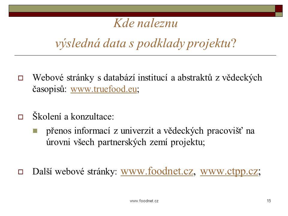 15 www.foodnet.cz Kde naleznu výsledná data s podklady projektu.