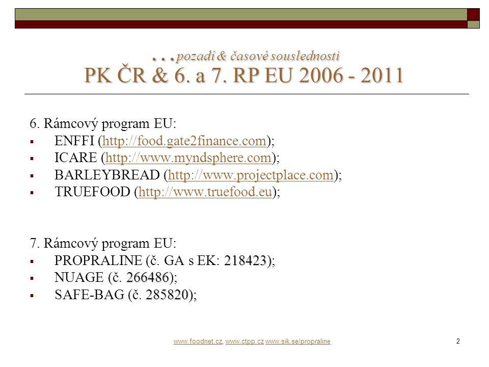 3 PK ČR & EU projekty ve schvalovacím řízení I.
