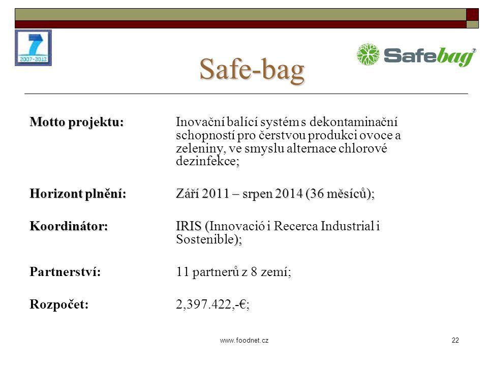 22 www.foodnet.cz Safe-bag Motto projektu: ; Motto projektu: Inovační balící systém s dekontaminační schopností pro čerstvou produkci ovoce a zeleniny, ve smyslu alternace chlorové dezinfekce; Horizont plnění: Září 2011 – srpen 2014 (36 měsíců); Koordinátor: IRIS ( ); Koordinátor: IRIS (Innovació i Recerca Industrial i Sostenible); Partnerství: 11 partnerů z 8 zemí; Rozpočet: 2,397.422,-€;