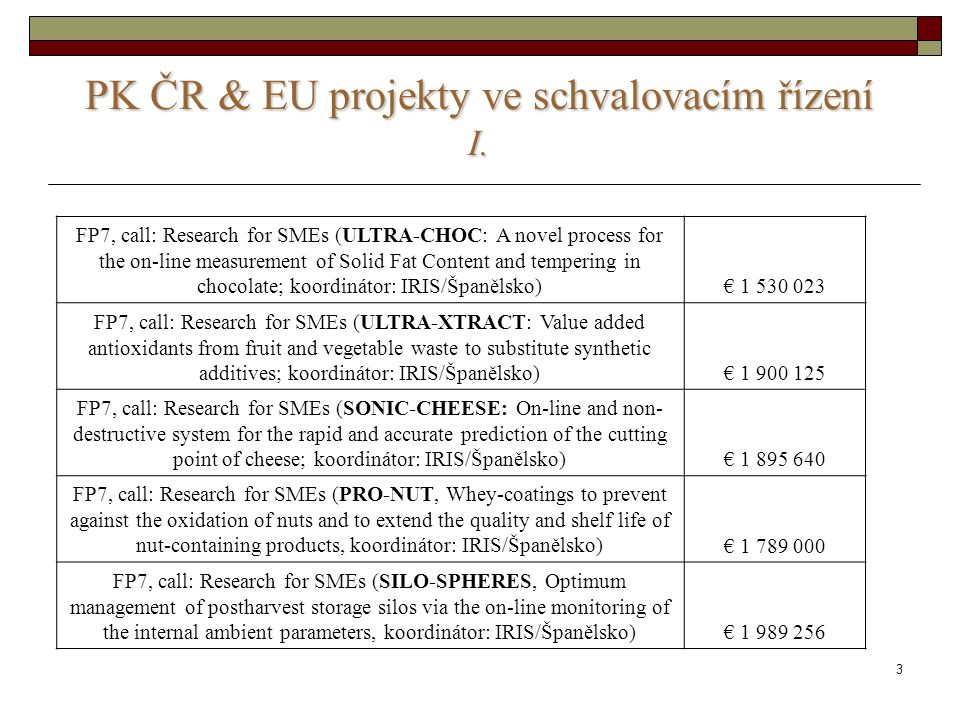 3 PK ČR & EU projekty ve schvalovacím řízení I. FP7, call: Research for SMEs (ULTRA-CHOC: A novel process for the on-line measurement of Solid Fat Con