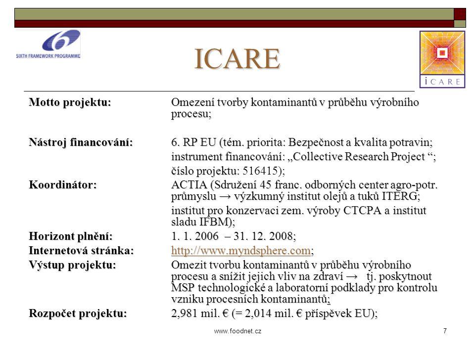 7 www.foodnet.cz ICARE Motto projektu: Omezení tvorby kontaminantů v průběhu výrobního procesu; Nástroj financování: 6.