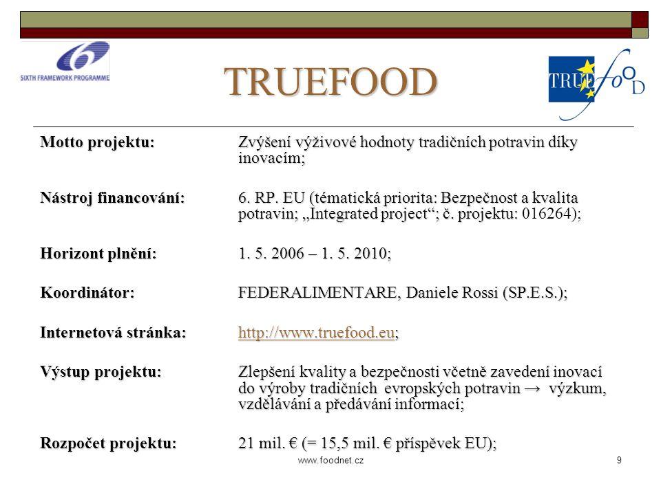 9 www.foodnet.cz TRUEFOOD Motto projektu: Zvýšení výživové hodnoty tradičních potravin díky inovacím; Nástroj financování: 6.