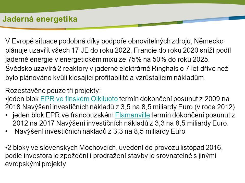 Rozestavěné pouze tři projekty: jeden blok EPR ve finském Olkiluoto termín dokončení posunut z 2009 na 2018 Navýšení investičních nákladů z 3,5 na 8,5 miliardy Euro (v roce 2012)EPR ve finském Olkiluoto jeden blok EPR ve francouzském Flamanville termín dokončení posunut z 2012 na 2017 Navýšení investičních nákladů z 3,3 na 8,5 miliardy Euro.Flamanville Navýšení investičních nákladů z 3,3 na 8,5 miliardy Euro 2 bloky ve slovenských Mochovcích, uvedení do provozu listopad 2016, podle investora je zpoždění i prodražení stavby je srovnatelné s jinými evropskými projekty.