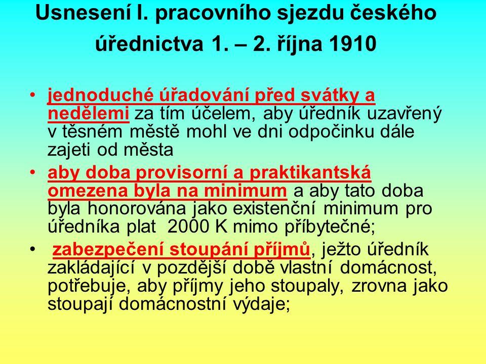 Usnesení I. pracovního sjezdu českého úřednictva 1. – 2. října 1910 jednoduché úřadování před svátky a nedělemi za tím účelem, aby úředník uzavřený v