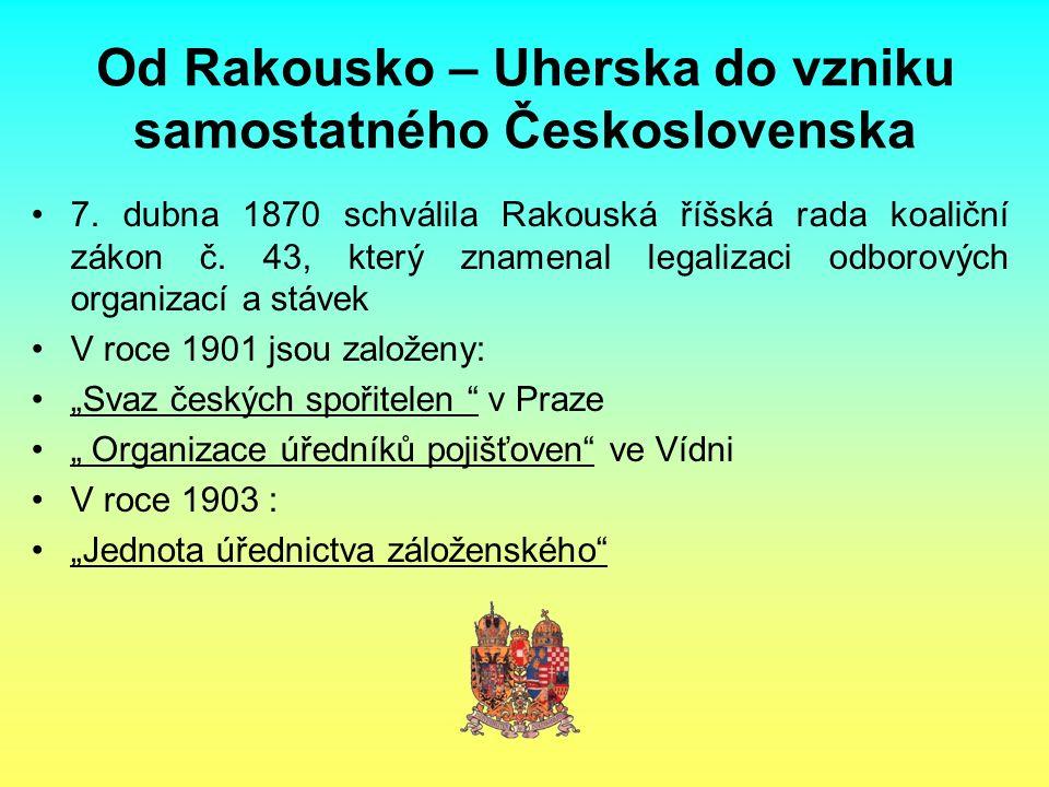 Od Rakousko – Uherska do vzniku samostatného Československa 7. dubna 1870 schválila Rakouská říšská rada koaliční zákon č. 43, který znamenal legaliza