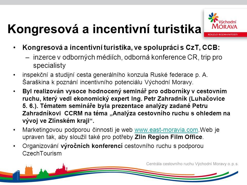 Kongresová a incentivní turistika Kongresová a incentivní turistika, ve spolupráci s CzT, CCB: –inzerce v odborných médiích, odborná konference CR, trip pro specialisty inspekční a studijní cesta generálního konzula Ruské federace p.