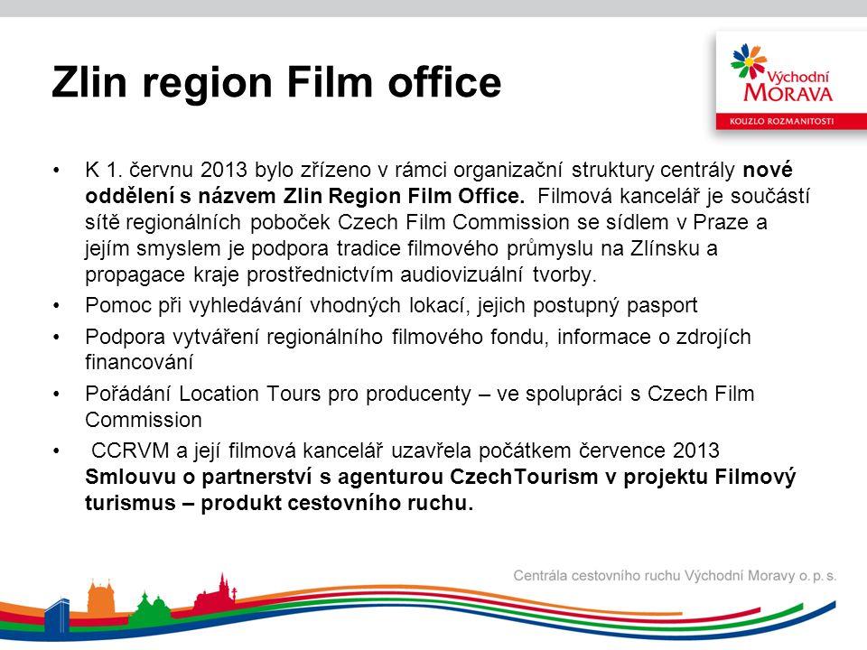 Zlin region Film office K 1. červnu 2013 bylo zřízeno v rámci organizační struktury centrály nové oddělení s názvem Zlin Region Film Office. Filmová k