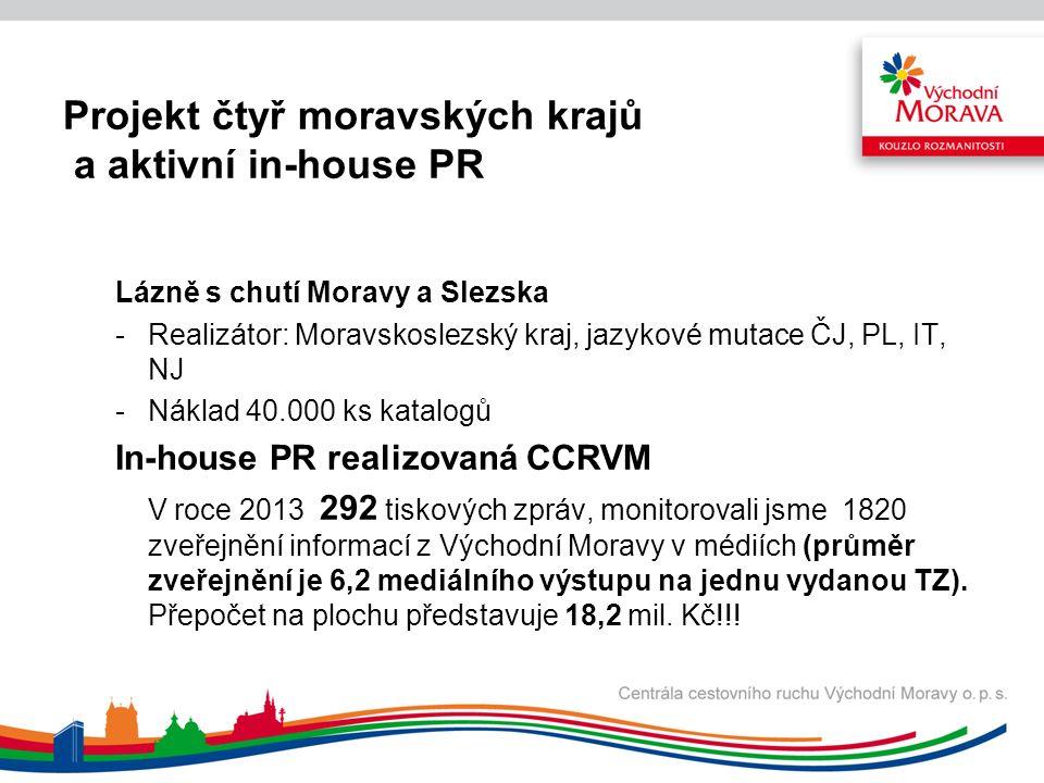 Projekt čtyř moravských krajů a aktivní in-house PR Lázně s chutí Moravy a Slezska -Realizátor: Moravskoslezský kraj, jazykové mutace ČJ, PL, IT, NJ -Náklad 40.000 ks katalogů In-house PR realizovaná CCRVM V roce 2013 292 tiskových zpráv, monitorovali jsme 1820 zveřejnění informací z Východní Moravy v médiích (průměr zveřejnění je 6,2 mediálního výstupu na jednu vydanou TZ).