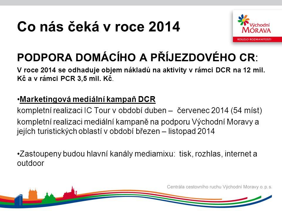 Co nás čeká v roce 2014 PODPORA DOMÁCÍHO A PŘÍJEZDOVÉHO CR: V roce 2014 se odhaduje objem nákladů na aktivity v rámci DCR na 12 mil.