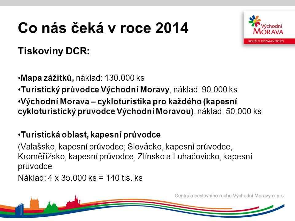 Co nás čeká v roce 2014 Tiskoviny DCR: Mapa zážitků, náklad: 130.000 ks Turistický průvodce Východní Moravy, náklad: 90.000 ks Východní Morava – cykloturistika pro každého (kapesní cykloturistický průvodce Východní Moravou), náklad: 50.000 ks Turistická oblast, kapesní průvodce (Valašsko, kapesní průvodce; Slovácko, kapesní průvodce, Kroměřížsko, kapesní průvodce, Zlínsko a Luhačovicko, kapesní průvodce Náklad: 4 x 35.000 ks = 140 tis.