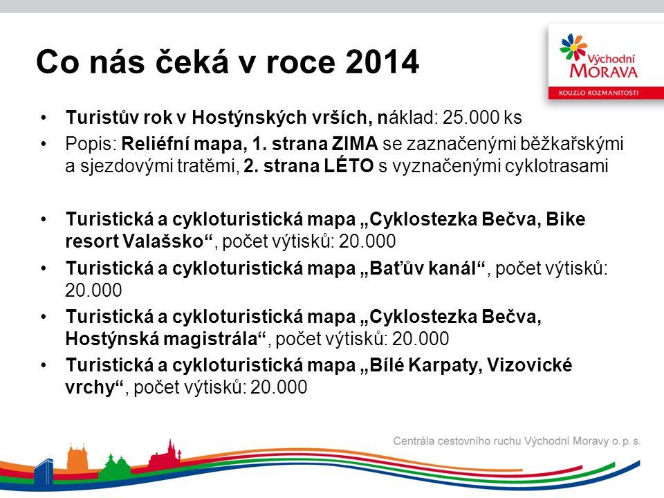 Co nás čeká v roce 2014 Turistův rok v Hostýnských vrších, náklad: 25.000 ks Popis: Reliéfní mapa, 1.