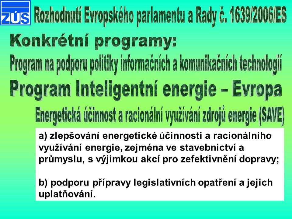 a) zlepšování energetické účinnosti a racionálního využívání energie, zejména ve stavebnictví a průmyslu, s výjimkou akcí pro zefektivnění dopravy; b) podporu přípravy legislativních opatření a jejich uplatňování.
