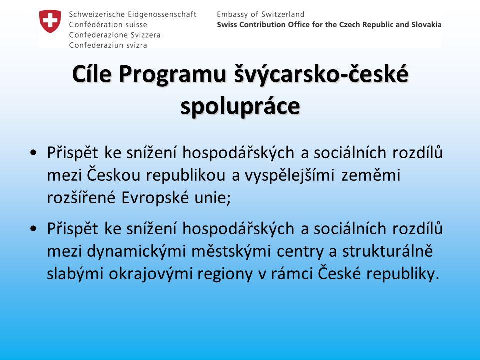 Cíle Programu švýcarsko-české spolupráce Přispět ke snížení hospodářských a sociálních rozdílů mezi Českou republikou a vyspělejšími zeměmi rozšířené