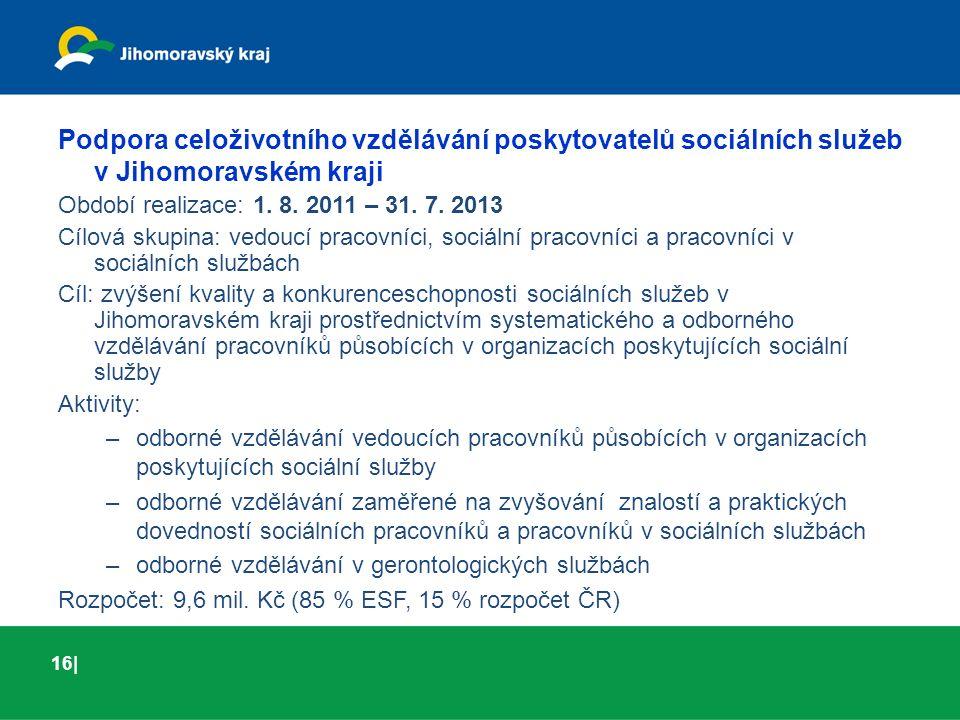 01 | 03Turistický ruch Podpora celoživotního vzdělávání poskytovatelů sociálních služeb v Jihomoravském kraji Období realizace: 1. 8. 2011 – 31. 7. 20