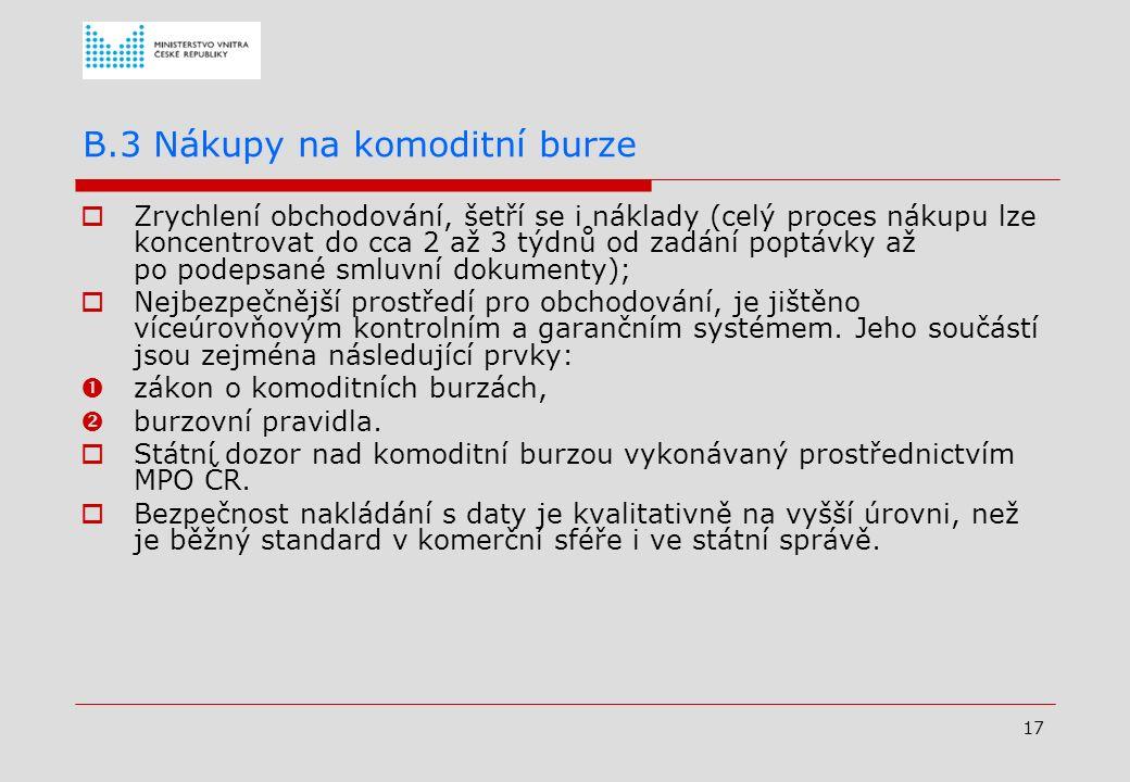 16 B.2. Využívání elektronického nástroje v resortu MV Proč bylo rozhodnuto v resortu MV o zadávání veřejných zakázek v rámci centrálních nákupů prost