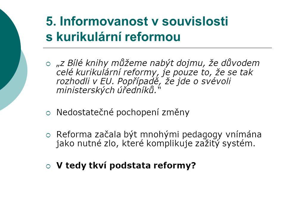 """5. Informovanost v souvislosti s kurikulární reformou  """"z Bílé knihy můžeme nabýt dojmu, že důvodem celé kurikulární reformy, je pouze to, že se tak"""