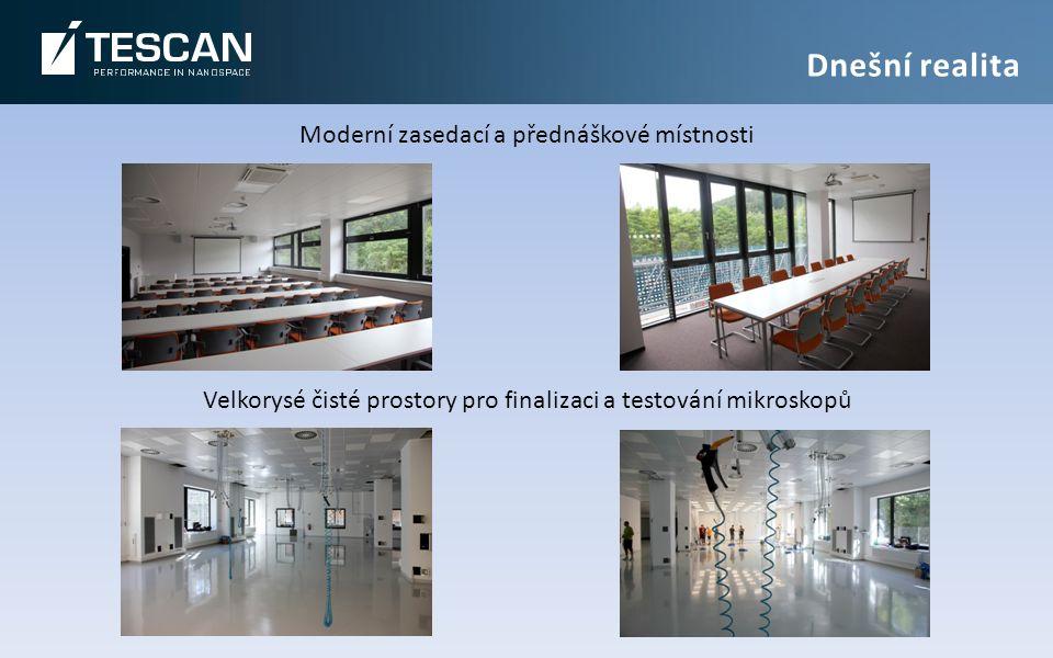 Moderní zasedací a přednáškové místnosti Velkorysé čisté prostory pro finalizaci a testování mikroskopů Dnešní realita